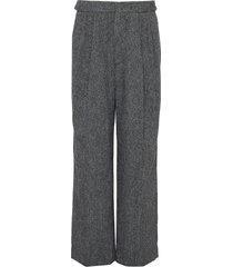loose fit textured wool tailored pants