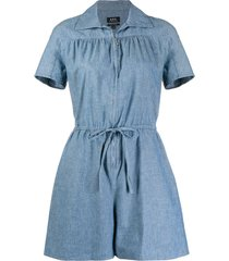 a.p.c. belted denim playsuit - blue