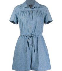 a.p.c. belted denim playsuit - blue