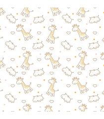 papel de parede infantil girafa e hipopã³tamo quartinhos 2,70x0,57m - amarelo - dafiti