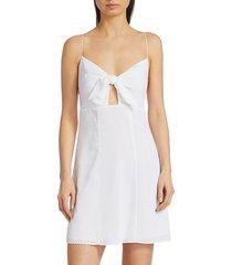alice + olivia women's roe tie-front mini dress - white - size 14