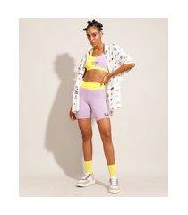 bermuda esportiva color block baw clothing lilás