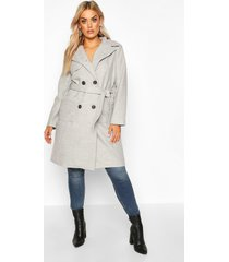 plus pocket front wool look trench coat, grey