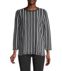pappagallo women's striped cotton top - black natural - size s