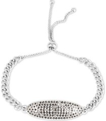 lucky brand silver-tone pave tag chain-link slider bracelet
