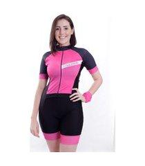 macaquinho de ciclismo manga curta wise sports joy rosa