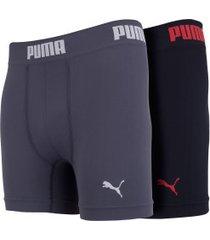 kit de cuecas boxer sem costura puma com 2 unidades - adulto - preto/cinza esc