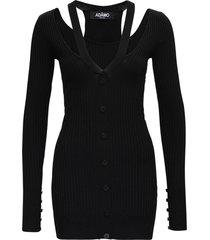 andrea adamo black ribbed knit dress