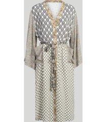 summum 5s1133-11173 723 jurk belted kimono patchwork white sand