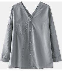 camicetta casual da donna a maniche lunghe con scollo a v con bottoni stampati a righe