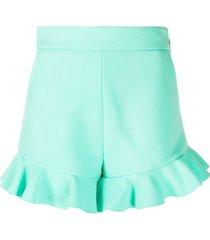 msgm ruffled trim shorts - green
