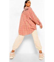 geruit lost love overhemd met rugopdruk, pink