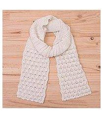 100% alpaca scarf, 'milky river' (peru)