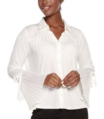 belldini black label bell sleeve button front blouse top
