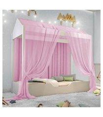 cama casinha montessori solteiro com mosquiteiro rosa casah