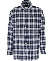check plaid double placket button-up shirt