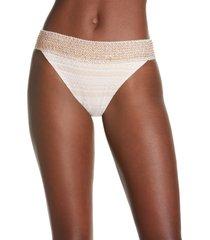 women's river island lace embroidered tanga bikini bottoms, size 2 us - white
