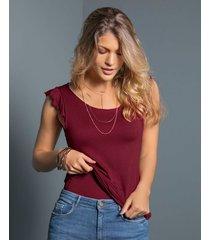 camiseta manga sisa - exterior rojo leonisa