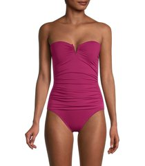 tommy bahama women's v-wire bandeau one-piece swimsuit - caledon sea - size 16