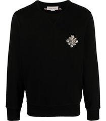 alexander mcqueen brooch-detail sweatshirt - black