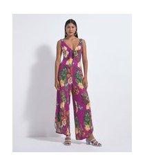 macacão pantalona com estampa floral e amarração | blue steel | rosa | pp