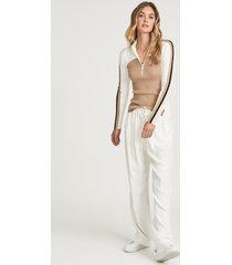 reiss zana - colour block zip neck polo shirt in cream/camel, womens, size xl