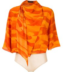 andrea marques deserto silk scarf bodysuit - orange