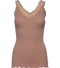 organic top v-neck regular w/lace t-shirts & tops sleeveless brun rosemunde