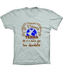 camiseta lu geek manga curta terra chocolate prata