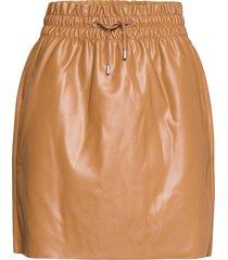 vmava hw short coated skirt kort kjol brun vero moda