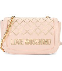 love moschino women's studded faux leather crossbody bag - rosa
