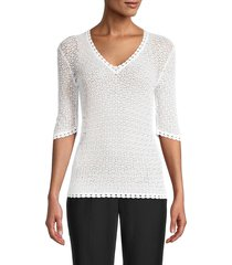 prince peter collections women's elbow-sleeve lace top - bright white - size 48 (m)