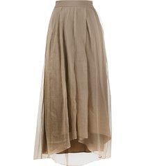 brunello cucinelli high-waisted asymmetric-hem silk skirt - brown