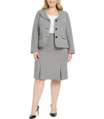 le suit plus size jacquard three-button skirt suit