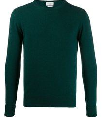 ballantyne ribbed crew neck pullover - green
