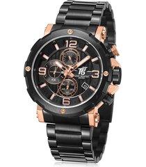reloj de hombre t5 pulso acero h3640g-d - negro/oro rosa