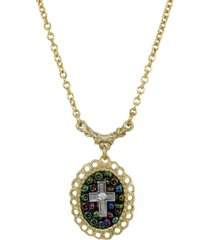 14k gold dipped carded oval multi color beaded crystal cross necklace