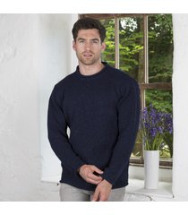 donegal curl neck sweater navy medium