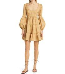 women's cinq a sept rose long sleeve babydoll dress, size 4 - metallic