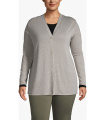 lane bryant women's striped button-front cardigan 18/20 grey and off white stripe
