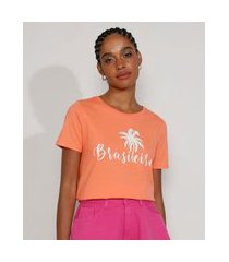 "camiseta feminina manga curta brasileira"" decote redondo laranja"""