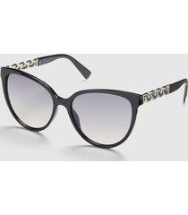 lane bryant women's embellished cateye sunglasses - black no black
