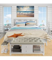designart 'brown starfish on caribbean beach' beach duvet cover set - twin bedding