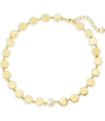 """alfani gold-tone disc & imitation pearl collar necklace, 17"""" + 2"""" extender, created for macy's"""