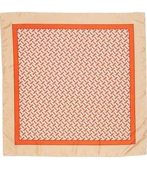 women's burberry monogrammed square silk scarf, size one size - orange