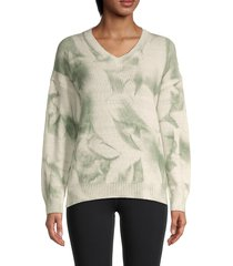 allison new york women's tie-dyed v-neck sweater - green - size l