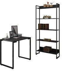 conjunto escritã³rio mesa escrivaninha 90cm e estante 5 prateleiras estilo industrial new port f02 preto - mpozenato - preto - dafiti