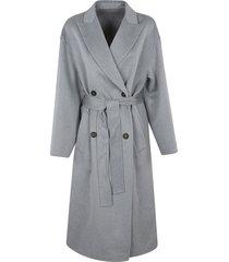 brunello cucinelli tie-waist double-breasted plain coat