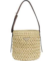 prada braided bucket bag