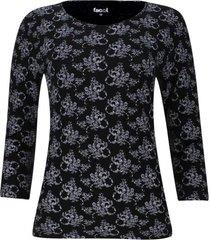 camiseta manga 3/4 estampado arabesco color negro, talla s